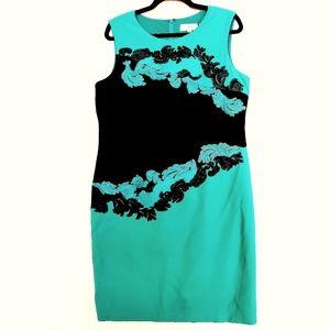 14 Friday Green & Black Embroidered Sheath Dress